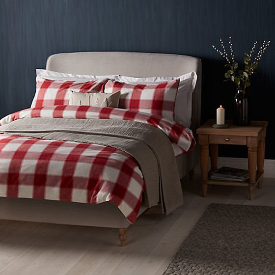 John Lewis bed linen in red brushed cotton check