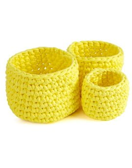 Set of 3 macrame Twiggy Pots in Sorbet Yellow