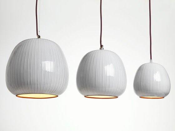 White glazed pendant lights by Hand & Eye Studio