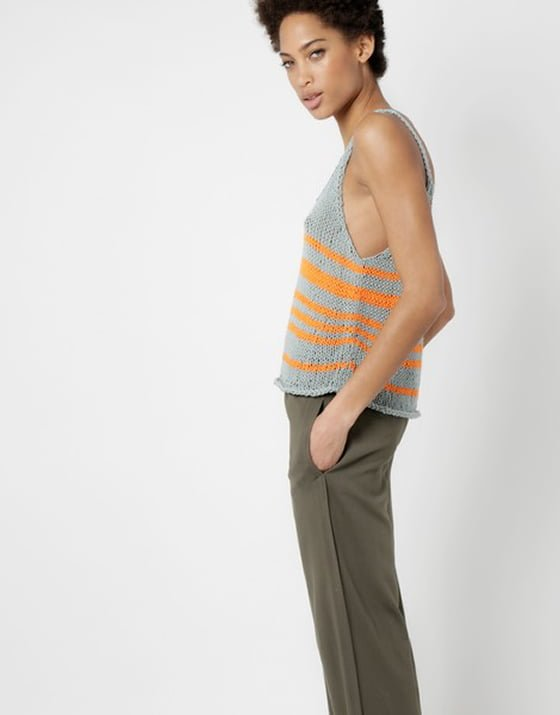Knitted grey and orange stripe Bob Top by Wool and the Gang