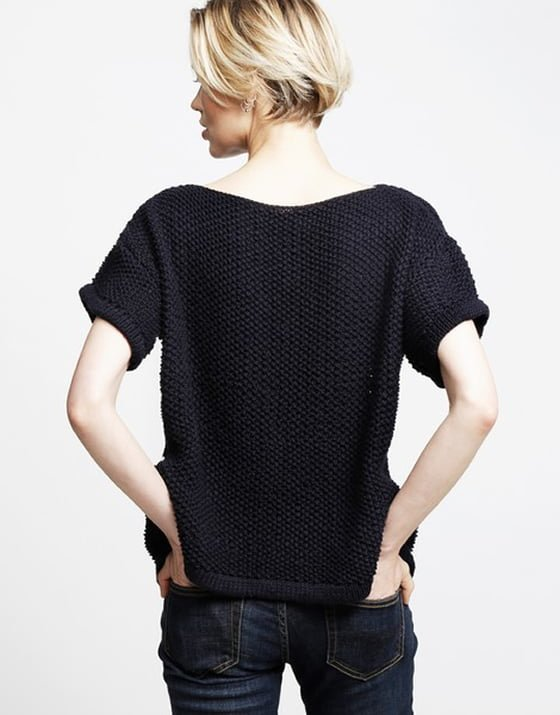 Wool and the Gang Julio T-shirt in navy back view worn by blonde model