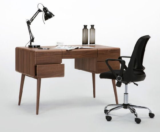 MADE Paco small desk for small spaces in walnut with balck hair and task lamp
