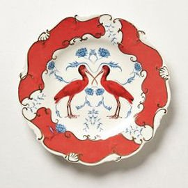 Vintage dessert plate with orange birds and motif