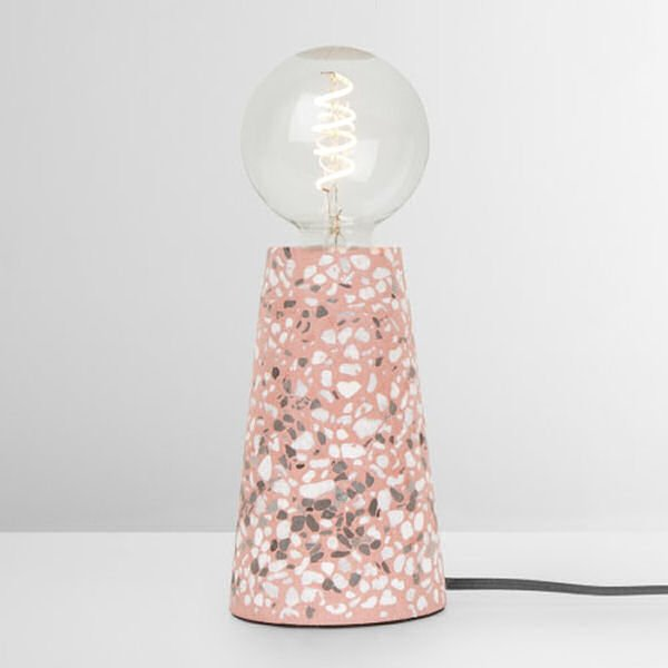 contemporary table lamp in pink terrazzo
