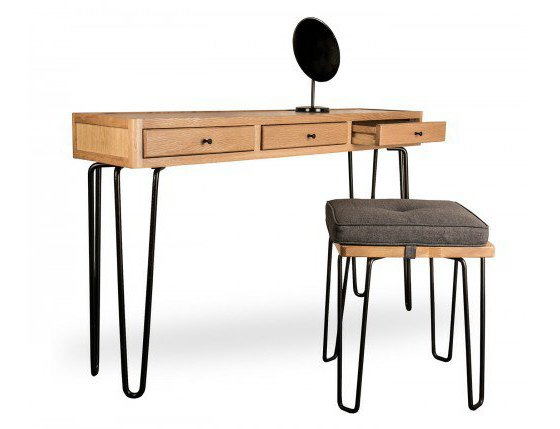 Oak console table and stool with black hairpin legs and round mirror