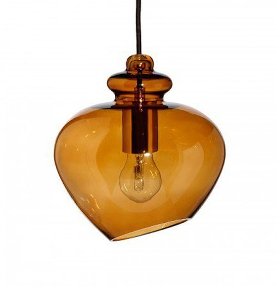 Amber Coloured Glass Pendant Light in contemporary style by Heal's Lighting