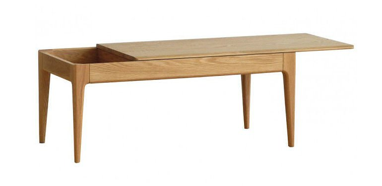 Ercol Romana solid oak coffee table with storage for small spaces