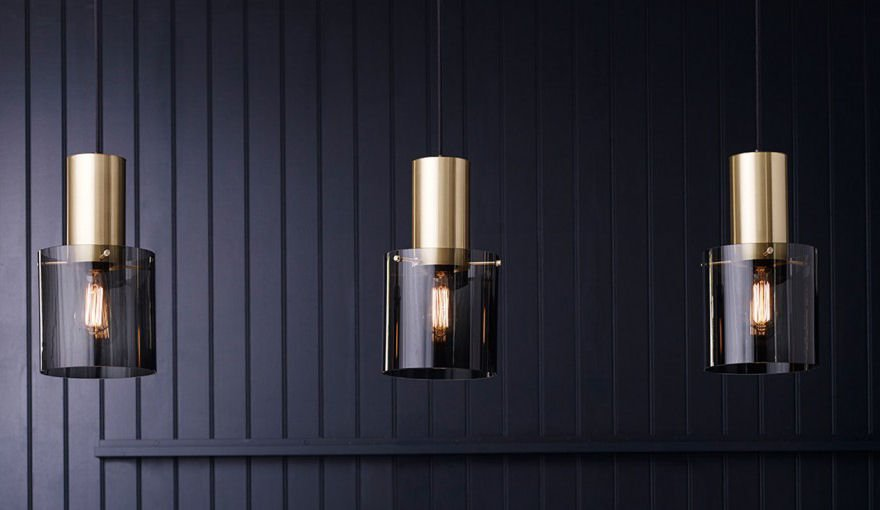 Coloured glass ceiling pendant lights with satin copper trim