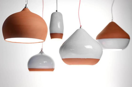 Contemporary lighting made from terracotta, some with white glaze