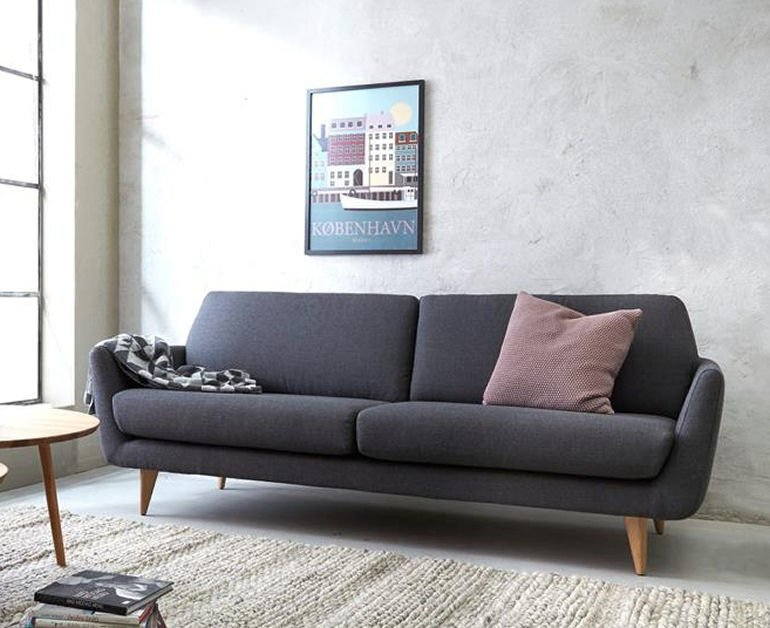 grey contemporary 2.5 seater sofa for small spaces with slimline arms