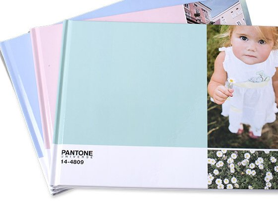 Pantone Photobooks in pastel shades of lilac, pink and blue