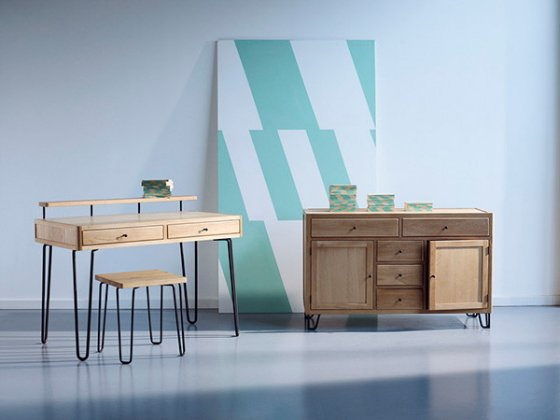 Heal's Brunel desk, Brunel Stool and Brunel Sideboard in american oak with steel hairpin legs