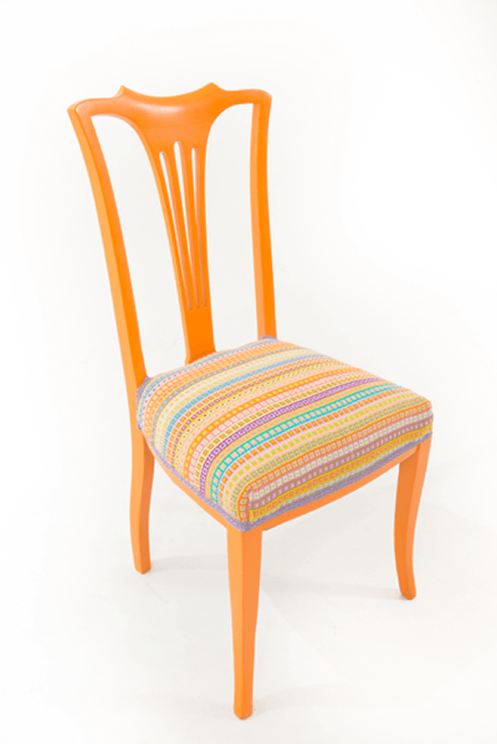 Orange upcycled chair with colourful handwoven seat