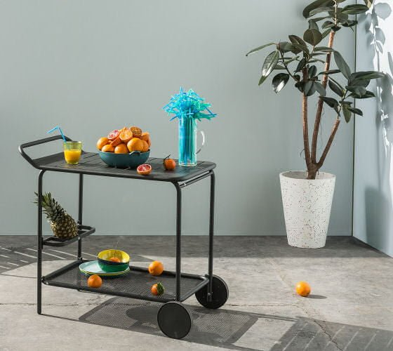 MADE Tyce outdoors drinks trolley in black