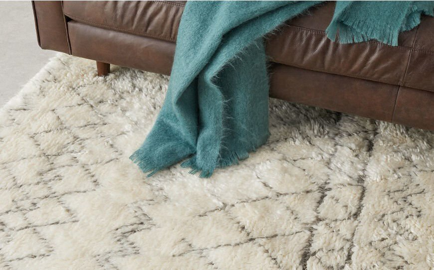 Wool Berber style cosy rug in cream and grey from MADE.com