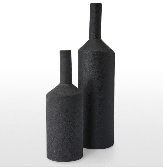 Black Halla Earthenware Bottle Vases by MADE