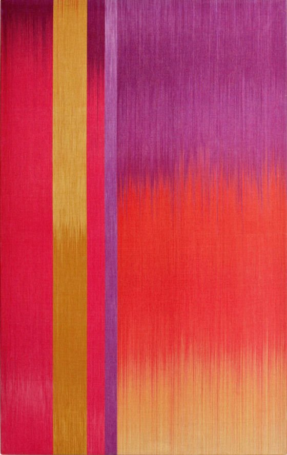 Colourfiled textile artwork in red, purple and yellow by Ptolemy Mann