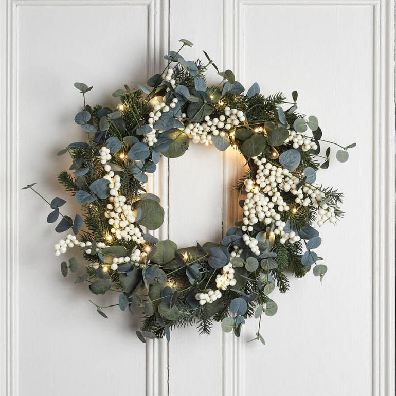 contemporary christmas wreath with eucalyptus and white berries