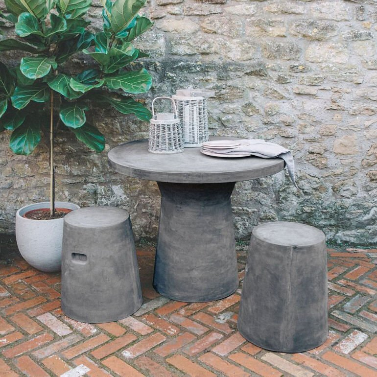 Fibre Clay Outdoor Table and Stool Set