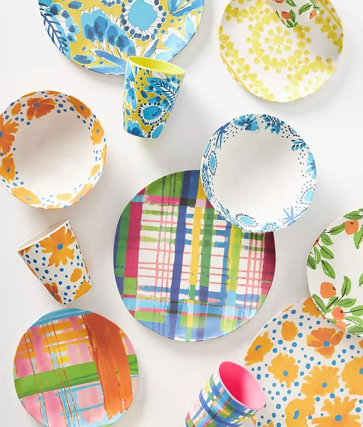 colourful bamboo melamine picnicware by Vera x Anthropologie