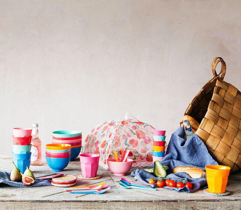 Sumer Brights colourful melamine picnicware by Graham and Green