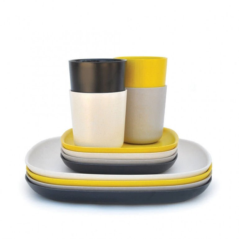 Ekobo colourful bamboo picnic set of picnic cups and plates in grey and yellow