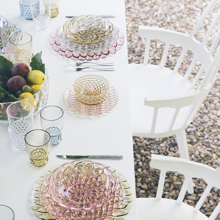 Kartell Jellies Family Plastic Tableware for outdoor dining
