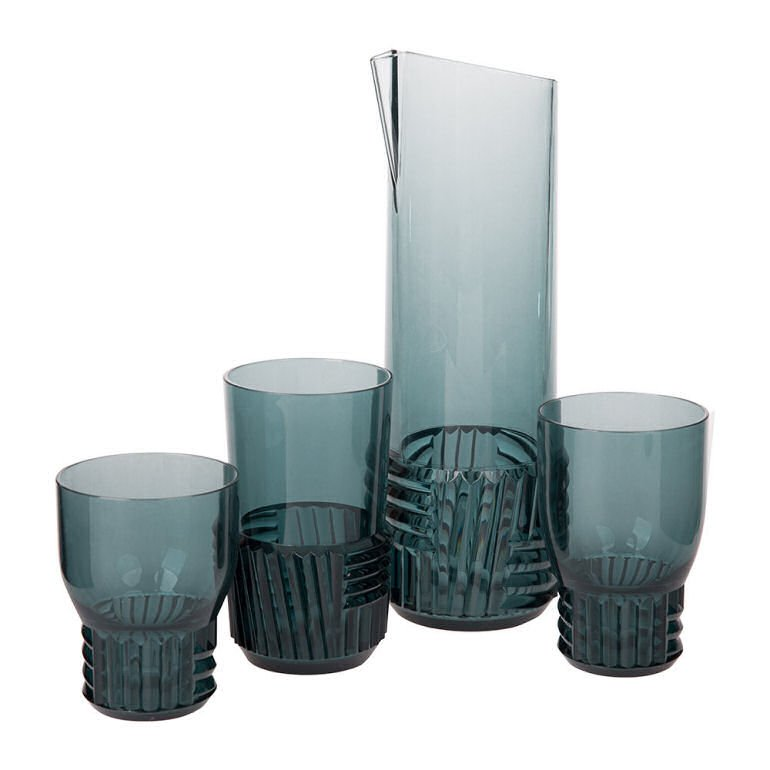 Kartell Trama Plastic Glasses and Pitchers for outdoor dining