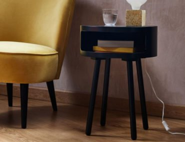 black side table for small spaces with storage shelf