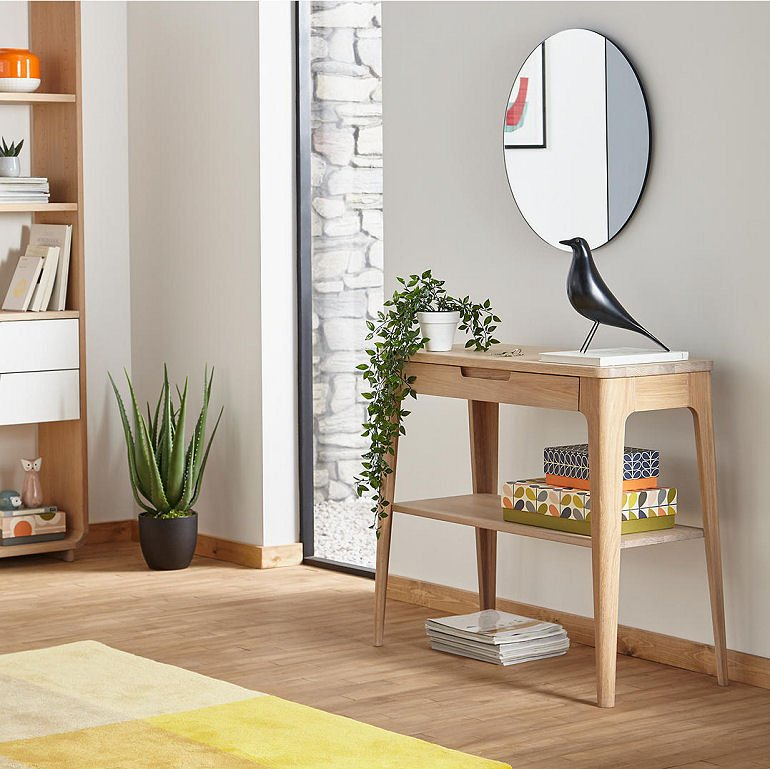Scandi style contemporary console table with storage