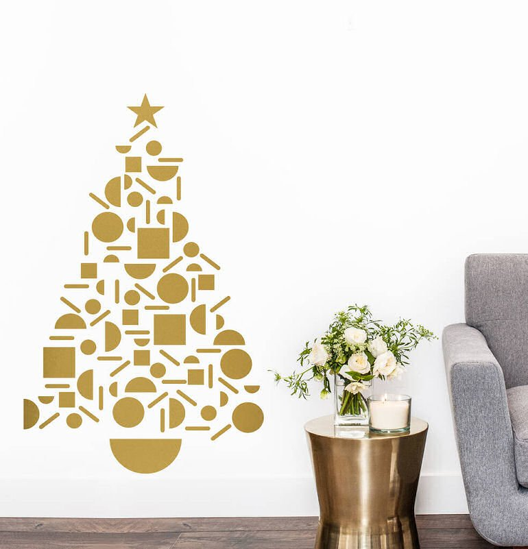 Gold geometric  Christmas Tree Wall sticker