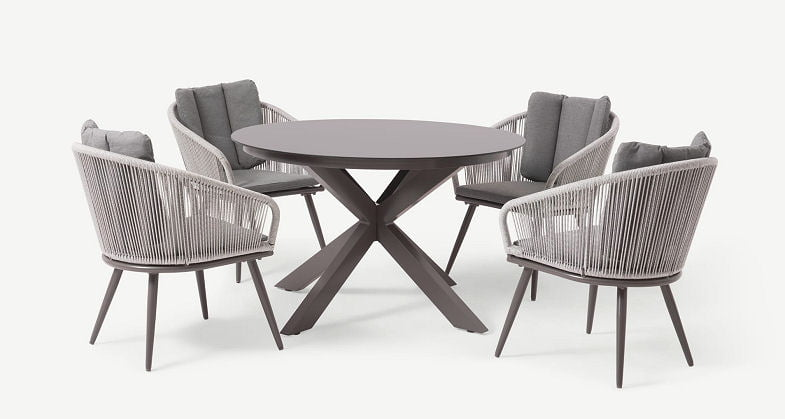 4 seater round outdoor dining set in grey and white