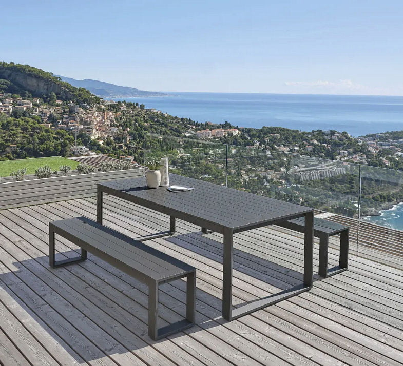 Grey aluminium outdoor table and bench set on terrace