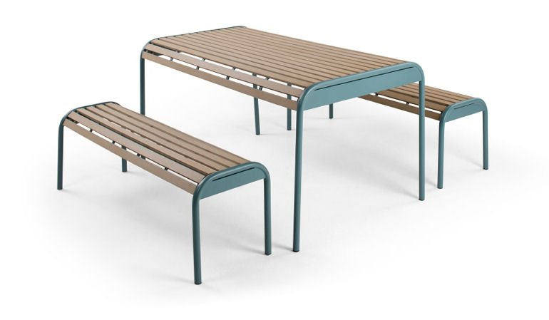 Mead Outdoor Table and Bench Set from MADE