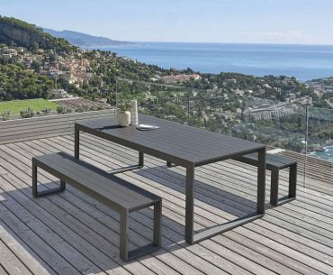 charcoal grey outdoor dining table and bench set