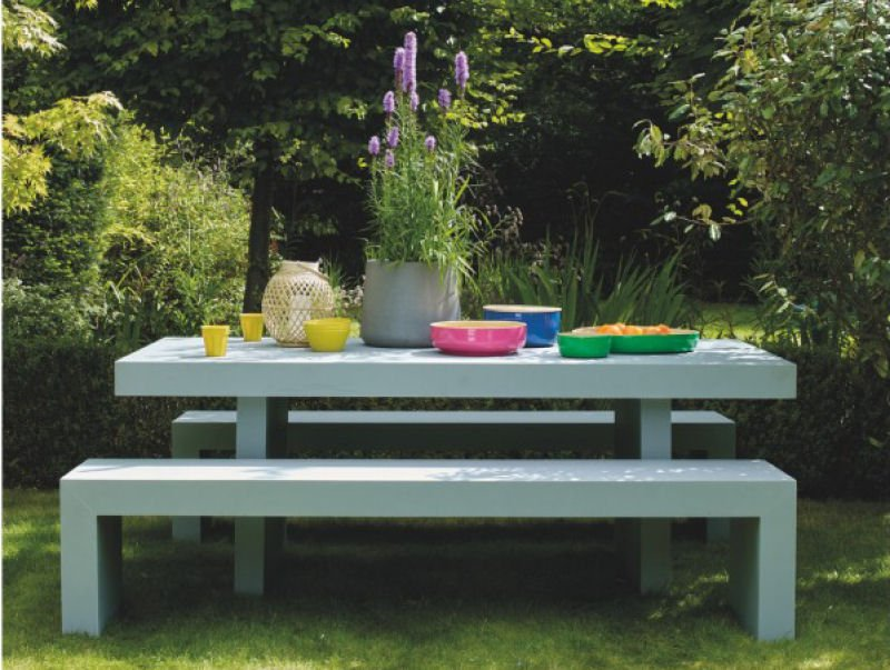 Tico outdoor dining set with garden dining table and benches in blue