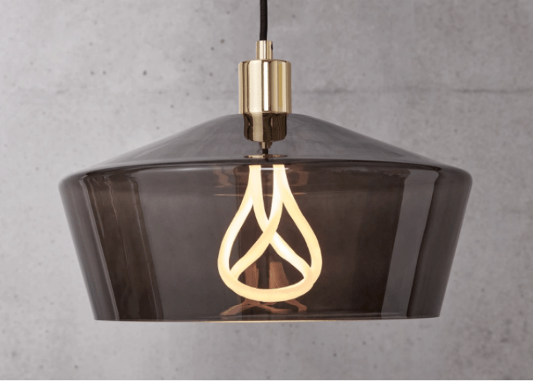Kem Grey Glass Pendant Light with Plumen 001 LED Bulb