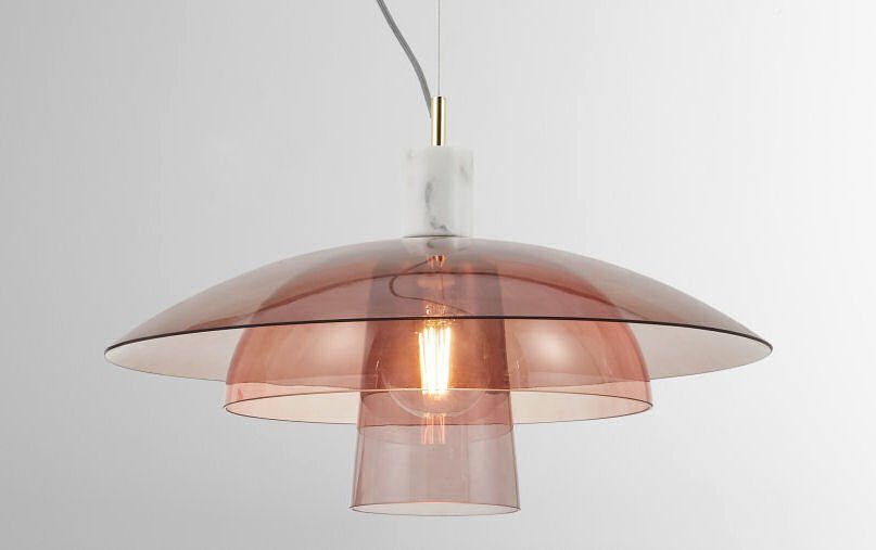 Lab Pink Glass and Marble Ceiling Pendant Light