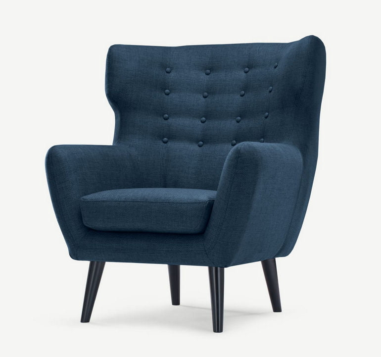 Kubrick small wing back blue armchair for small spaces