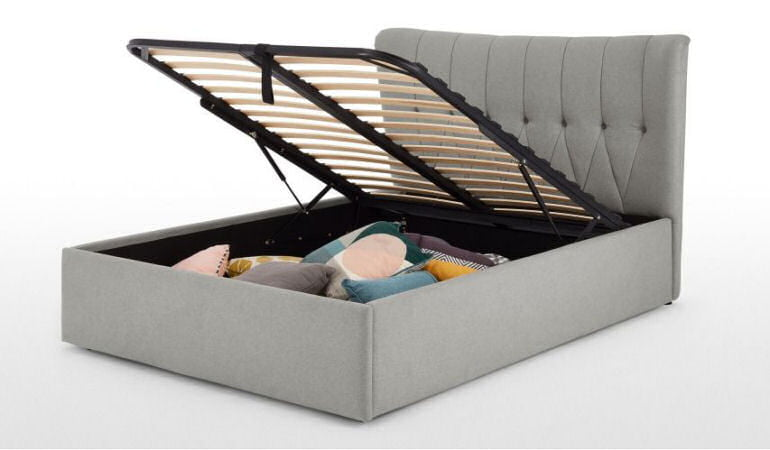 MADE Kingsize Charley Storage Bed in grey fabric