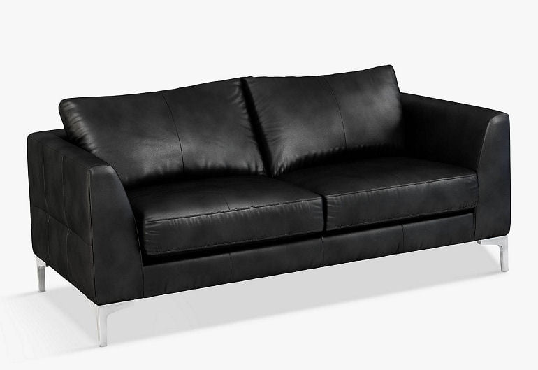 Belgrave black leather sofa for small living rooms
