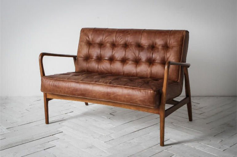 Brad 2-seater brown leather vintage style sofa for small spaces
