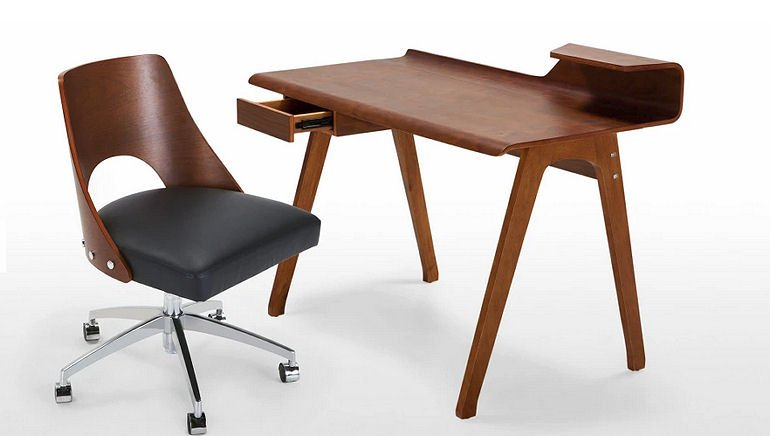 Cornell Walnut Home Desk with matching chair