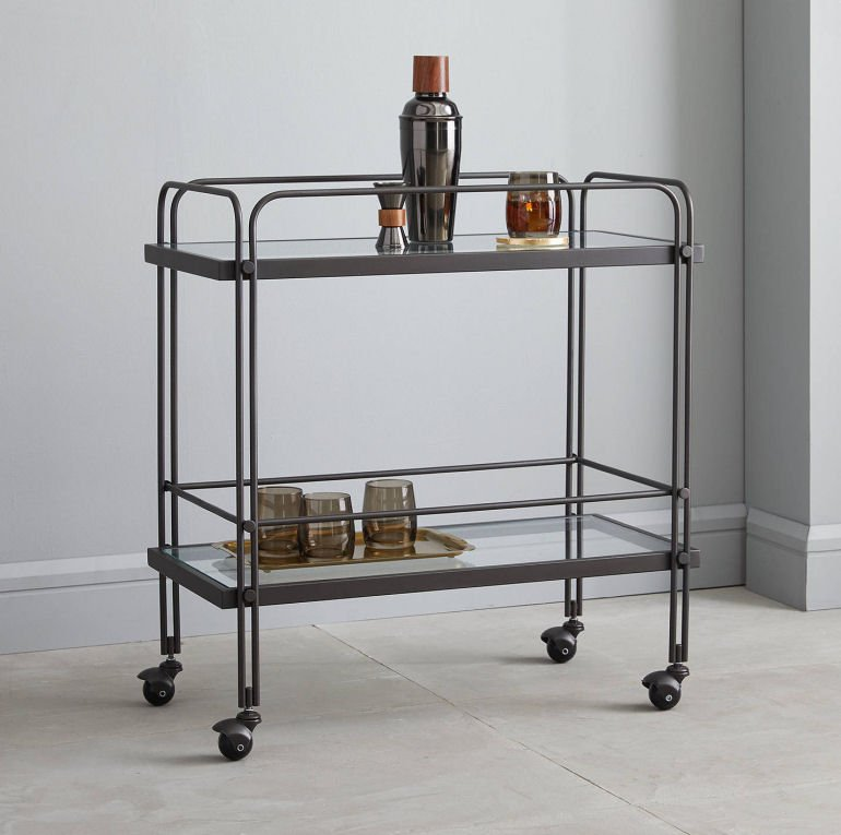 West Elm Fulton Contemporary Bar Cart in bronze metal and glass