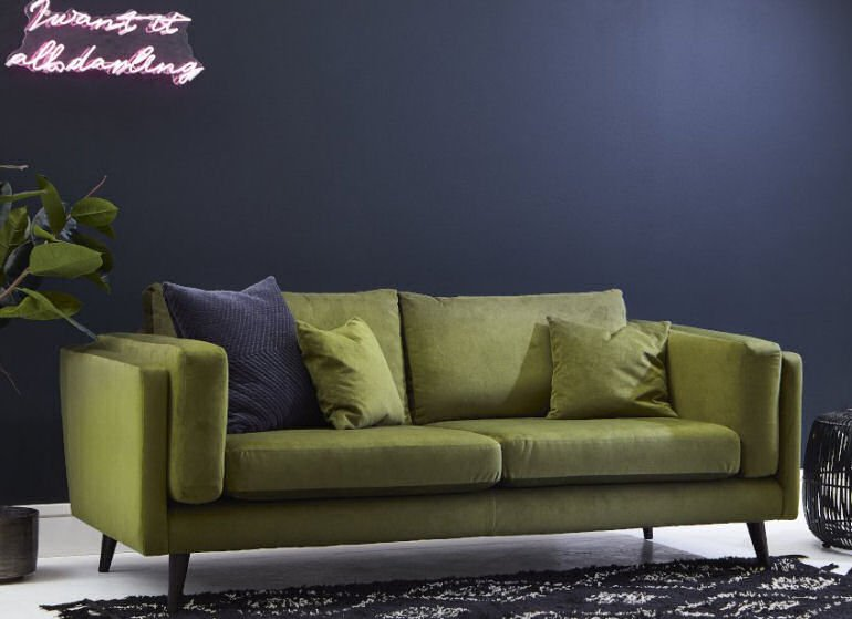 Green sofa - Brighton compact sofa for small places by Darlings of Chelsea