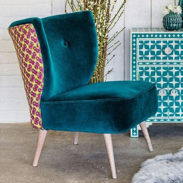 Alpana teal velvet cocktail chair with African fabric back