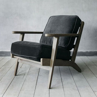 Dexter Grey velvet armchair with wooden frame