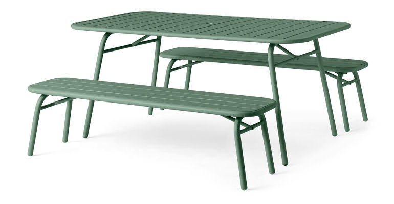 Tice Colourful garden dining bench set in green by MADE