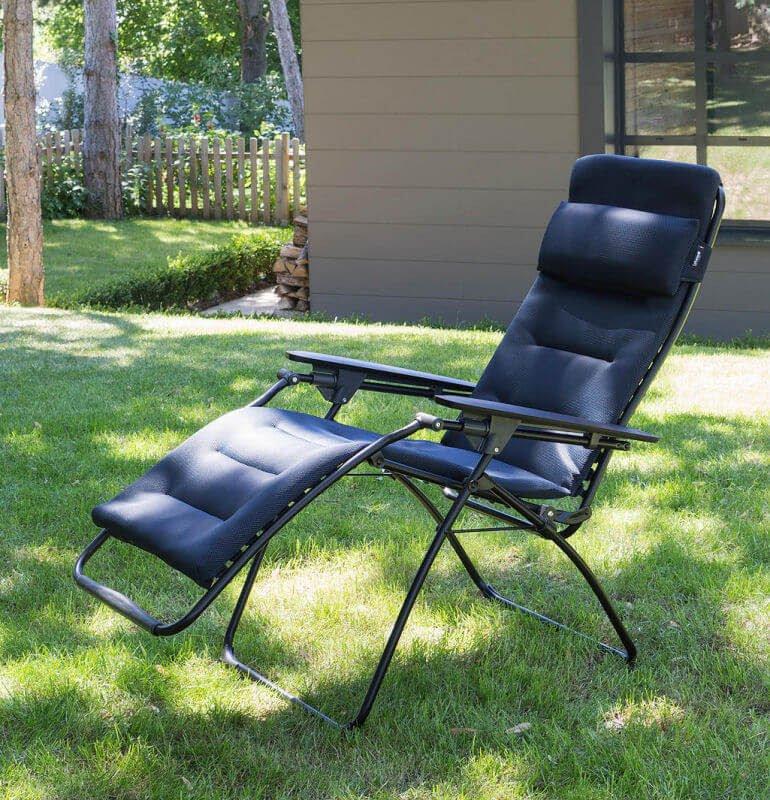 John Lewis Lafuma Air Comfort Futura Sun Lounger on lawn outside house