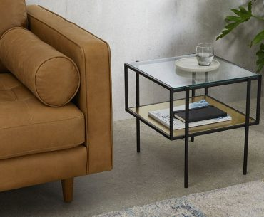 Brass and glass side table with storage shelf